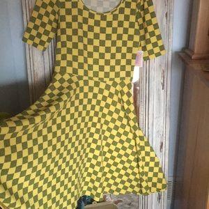 LuLaRoe Yellow & Grey Square Flare Dress L
